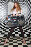 Girl hold old tape cassette recorder Stock Photo