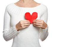 Girl hold origami heart Stock Image