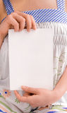 Girl hold paper notebook. White isolated stock images