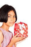 Girl hold red gift box isolate background Stock Photo