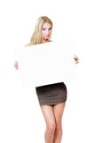 Girl hold white blank paper card Stock Image