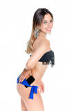 Girl holder phone in briefs Stock Images