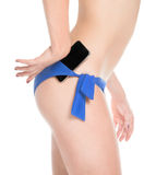 Girl holder phone in briefs Royalty Free Stock Photos