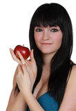 Girl holdign an apple Stock Photos