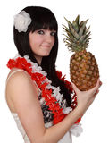 Girl holdign a pineapple Stock Images