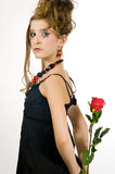 Girl Holding A Red Rose Royalty Free Stock Image