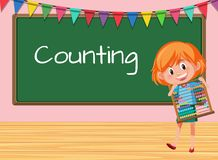 A girl holding abacus on counting lesson. Illustration vector illustration