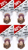 Girl holding advertising banner. Girl holding advertising discount banner stock images