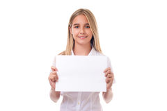 girl holding advertising sign board ,isolated stock photo