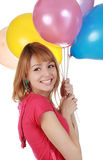 Girl holding air balloon Stock Image