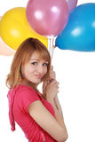 Girl holding air balloon Royalty Free Stock Image