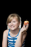 Girl holding apple Royalty Free Stock Images