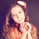 Girl holding Apple Fruit Royalty Free Stock Photo