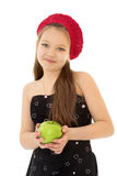 Girl holding an Apple Stock Photography