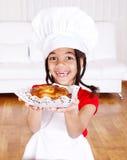 Girl holding apple pie Royalty Free Stock Photos