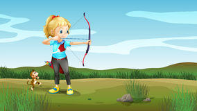 A girl holding an archery with a monkey at the back. Illustration of a girl holding an archery with a monkey at the back Stock Photos
