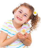 Girl holding baby chicken Stock Photo