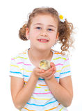 Girl holding baby chicken Royalty Free Stock Image
