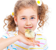 Girl holding baby chicken Royalty Free Stock Photos