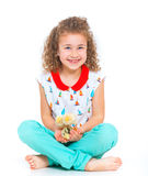 Girl holding baby chickens Stock Photography