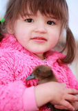 Girl Holding Baby Duck Royalty Free Stock Image