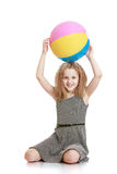 The girl is holding the ball Stock Photography