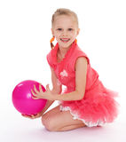 Girl holding ball Stock Photo