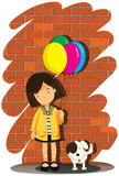 Girl holding balloons and a dog Stock Photography