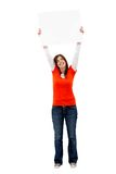 Girl holding a banner Royalty Free Stock Photos