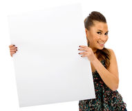 Girl holding a banner Royalty Free Stock Image