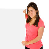 Girl holding a banner Stock Photography