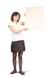 Girl holding a banner Stock Images