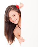 Girl holding a banner Royalty Free Stock Photography