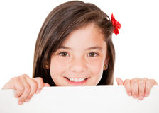 Girl holding a banner Royalty Free Stock Photo