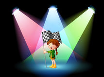A girl holding a banner with spotlights Royalty Free Stock Photo