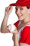 Girl Holding Baseball Royalty Free Stock Images