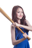 Girl holding a baseball bat. Stock Photography