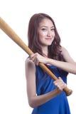 Girl holding a baseball bat. Stock Photography