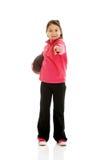 Girl holding basket ball Royalty Free Stock Photos