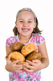 Girl holding basket of bread Royalty Free Stock Images