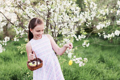 Girl Holding Basket Of Decorated Eggs Stock Images