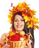 Girl  holding basket with fruit. Stock Image