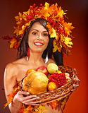 Girl  holding basket with fruit. Royalty Free Stock Photography