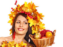 Girl  holding basket with fruit. Royalty Free Stock Images