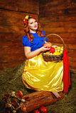 Girl is holding a basket of harvest. Royalty Free Stock Image