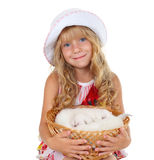 Girl holding a basket with little cats. Cute little girl holding a basket with little cats isolated on white background stock photography