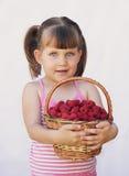 Girl holding a basket of raspberries Stock Image