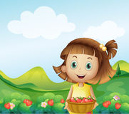 A girl holding a basket of strawberries. Illustration of a girl holding a basket of strawberries Stock Images