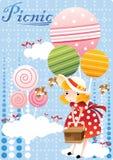 girl holding a basket. Vector illustration decorative design