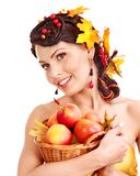Girl Holding Basket With Fruit. Royalty Free Stock Photos